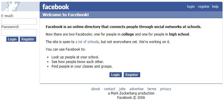 Дизайн фейсбука 10 лет назад